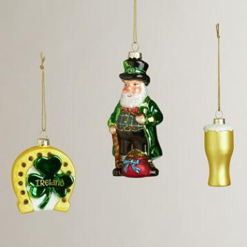 Glass Ireland Boxed Ornaments, Set of 3